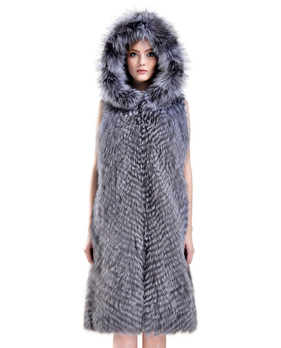 3/4 length hooded Silver Fox fur vest, made of quality Silver Fox fur.