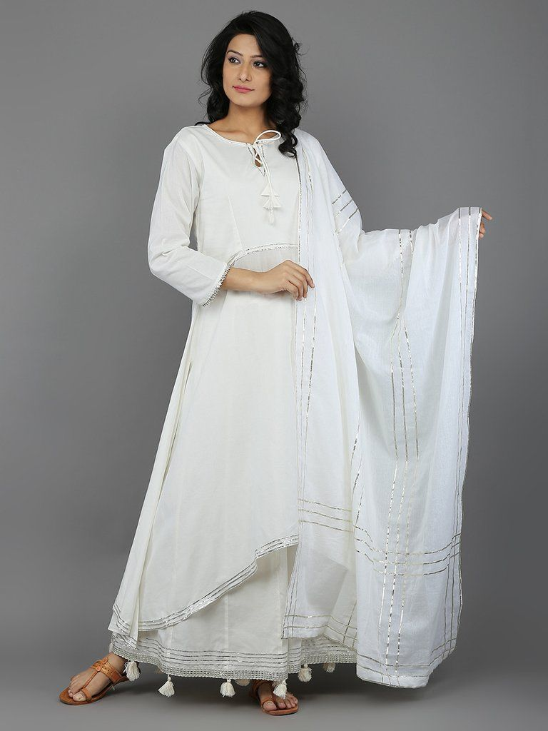 a136abe473 Off White Mulmul Cotton Sharara Suit with Chaukor Gota Dupatta - Set of 3