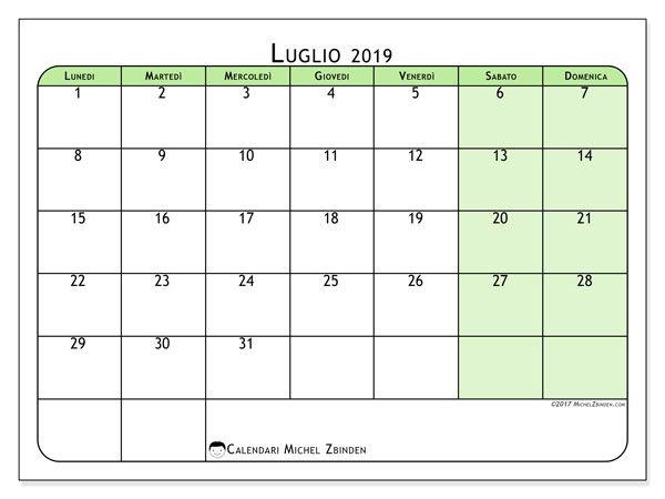 Calendario Mese Di Luglio 2019 Da Stampare.Calendari Da Stampare Datario Calendario Settembre 2018