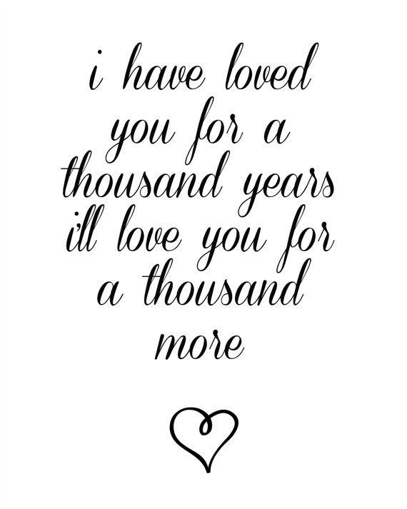 A Thousand Years Lyrics Printable Wedding Song By SimplyChicHomes