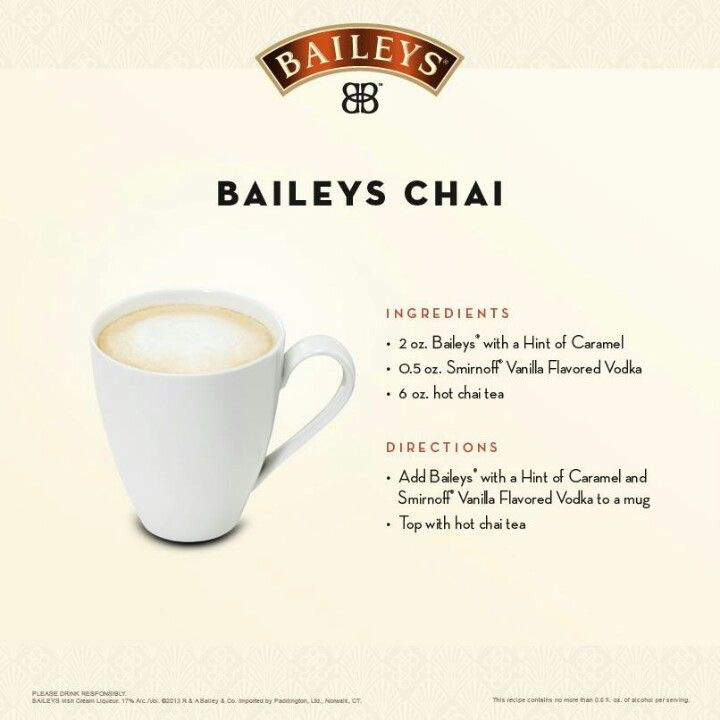 For the tea lover - a perfect drink for this fall! Baileys Chai