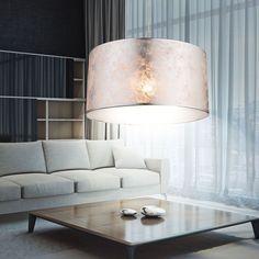 Pendel Beleuchtung Holz Decken Strahler Stoff Gäste Zimmer Hänge Leuchte weiß