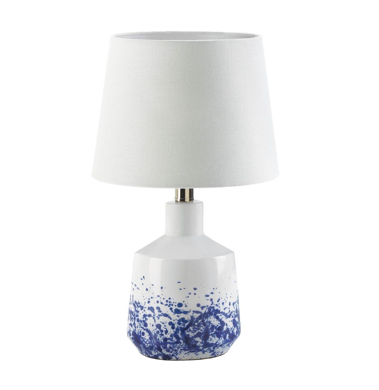 White Blue Splash Table Lamp In 2021 Table Lamp Lamp White Table Lamp