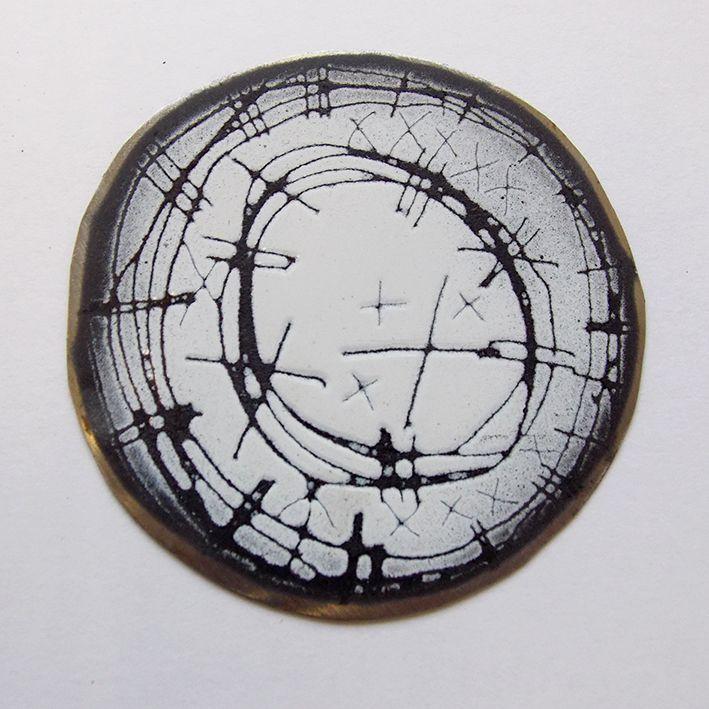 amanda denison brooch. industrial enamel on steel