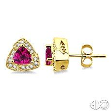 Trillion Cut Pink Tourmaline Earrings in Yellow Gold