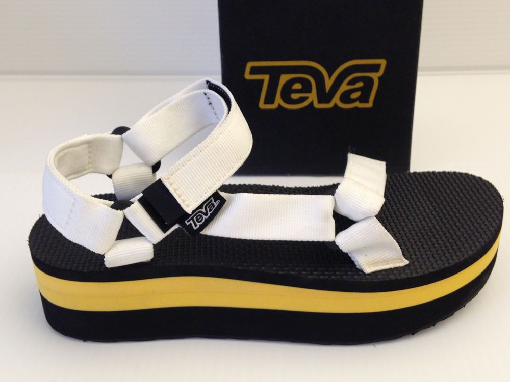 e6794bad7bbe TEVA UNIVERSAL FLATFORM WHITE BLACK AND YELLOW PLATFORM SANDALS SIZE 8 USA   Teva  PlatformsWedges  Casual