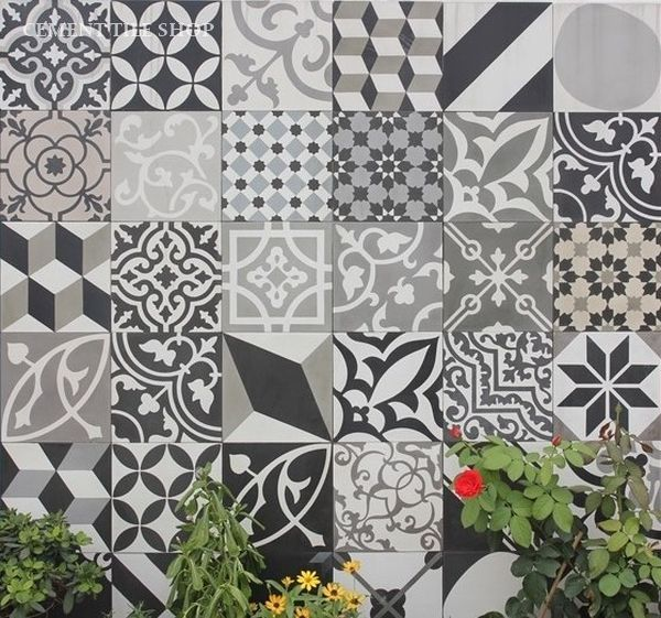Cement tile shop encaustic cement tile patchwork black for Kinderzimmer 6m2