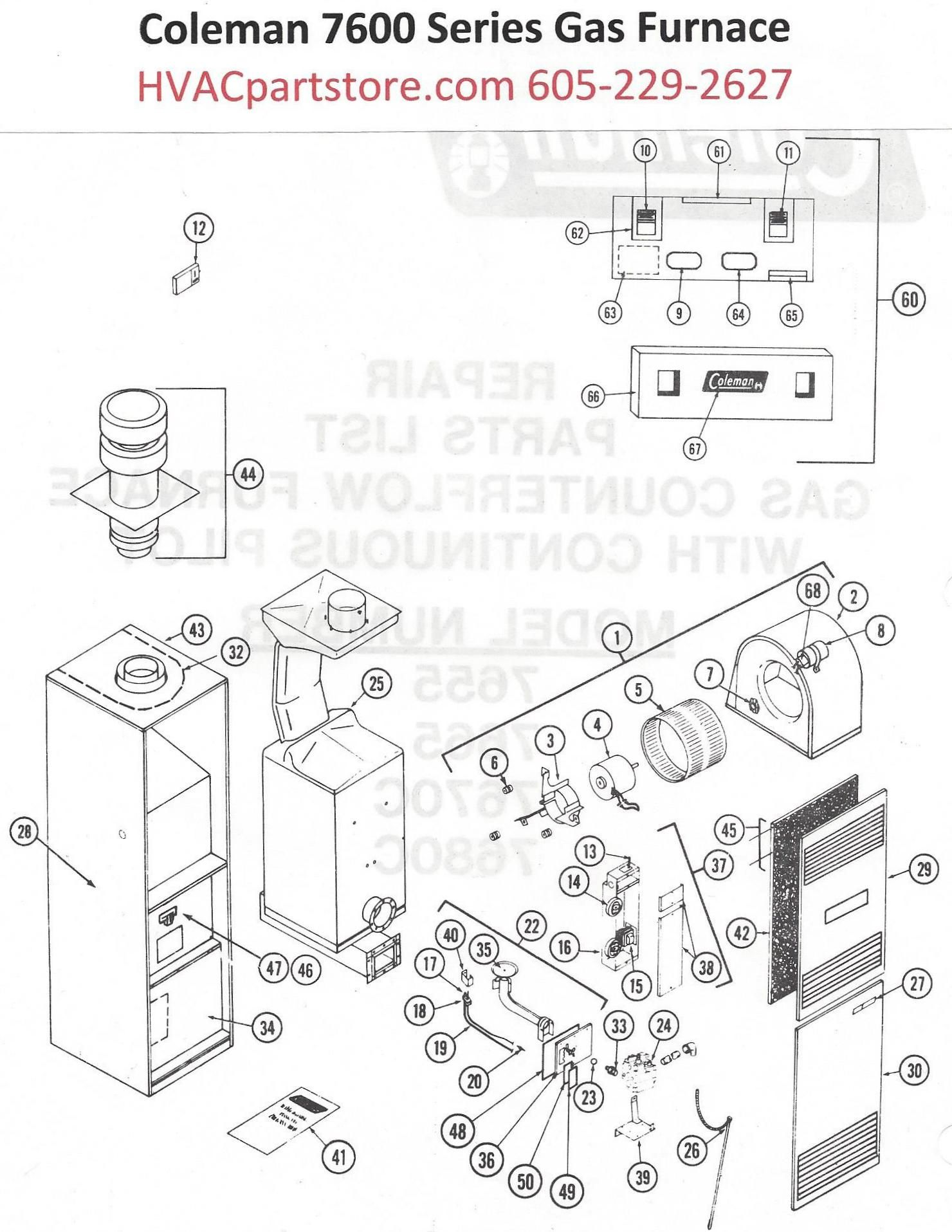 coleman mobile home furnace specs