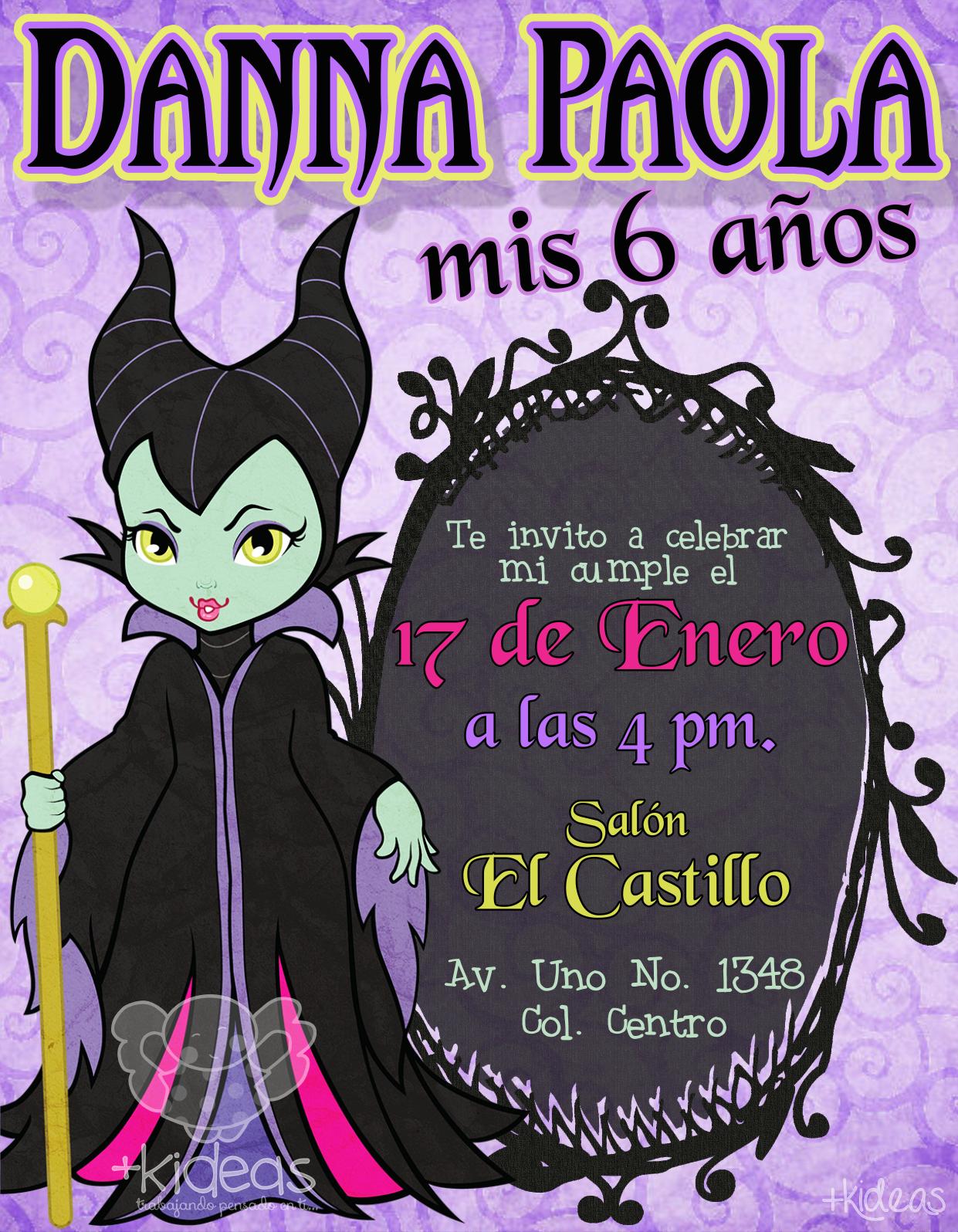 Maléfica Girl | Camila | Pinterest | Maléfica, Invitaciones ...