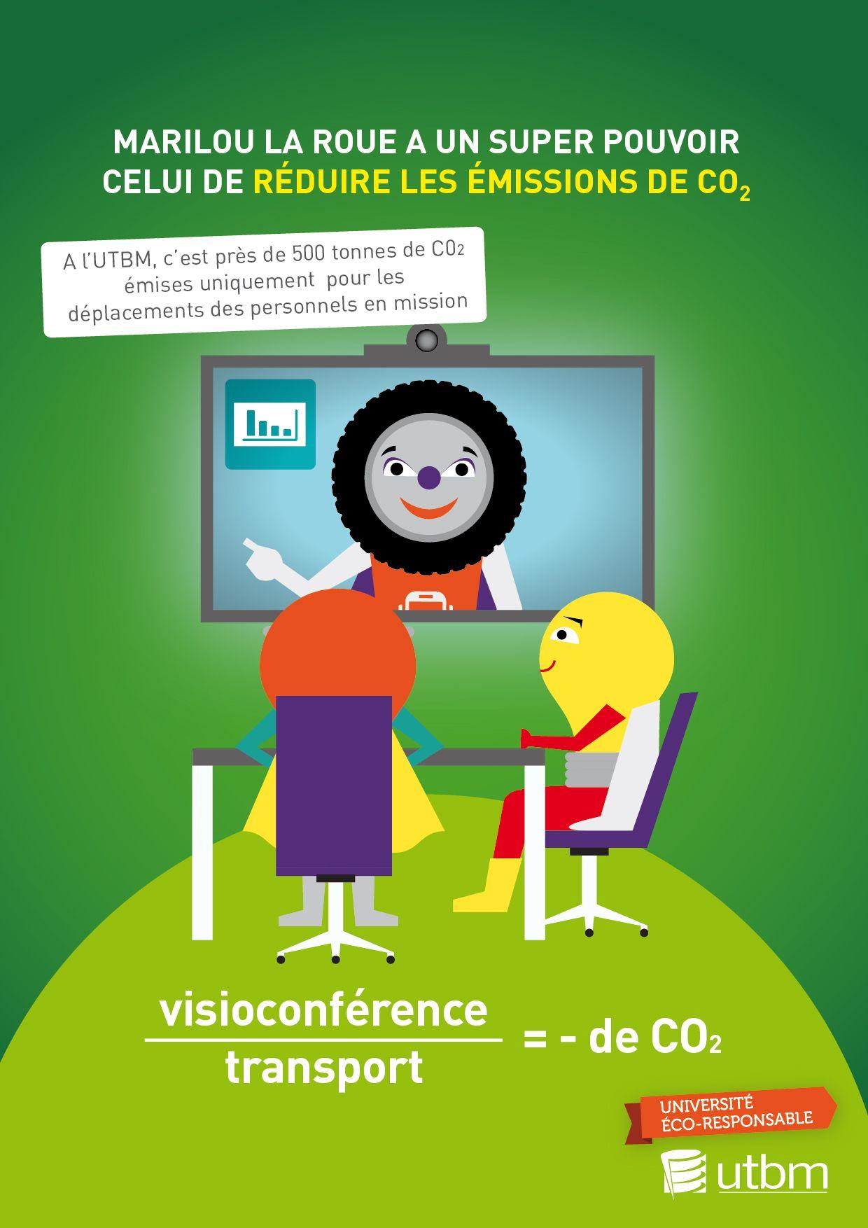 Campagne éco-gestes, thématique mobilités. Semaine 4 : la visioconférence pour éviter les déplacements UTBM - service communication / DR