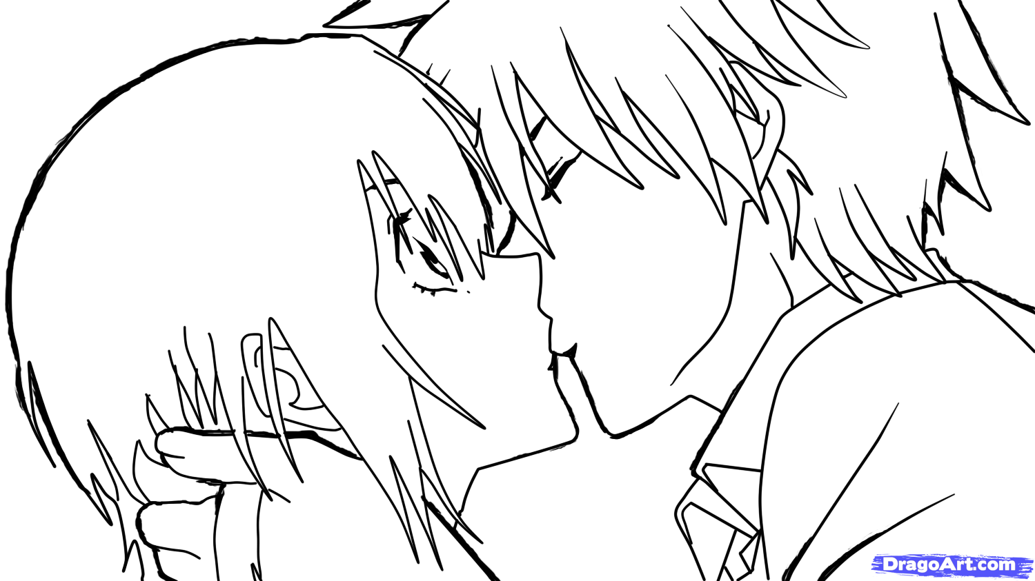 Coloring pages kiss - How To Sketch An Anime Kiss Step By Step Anime People Anime
