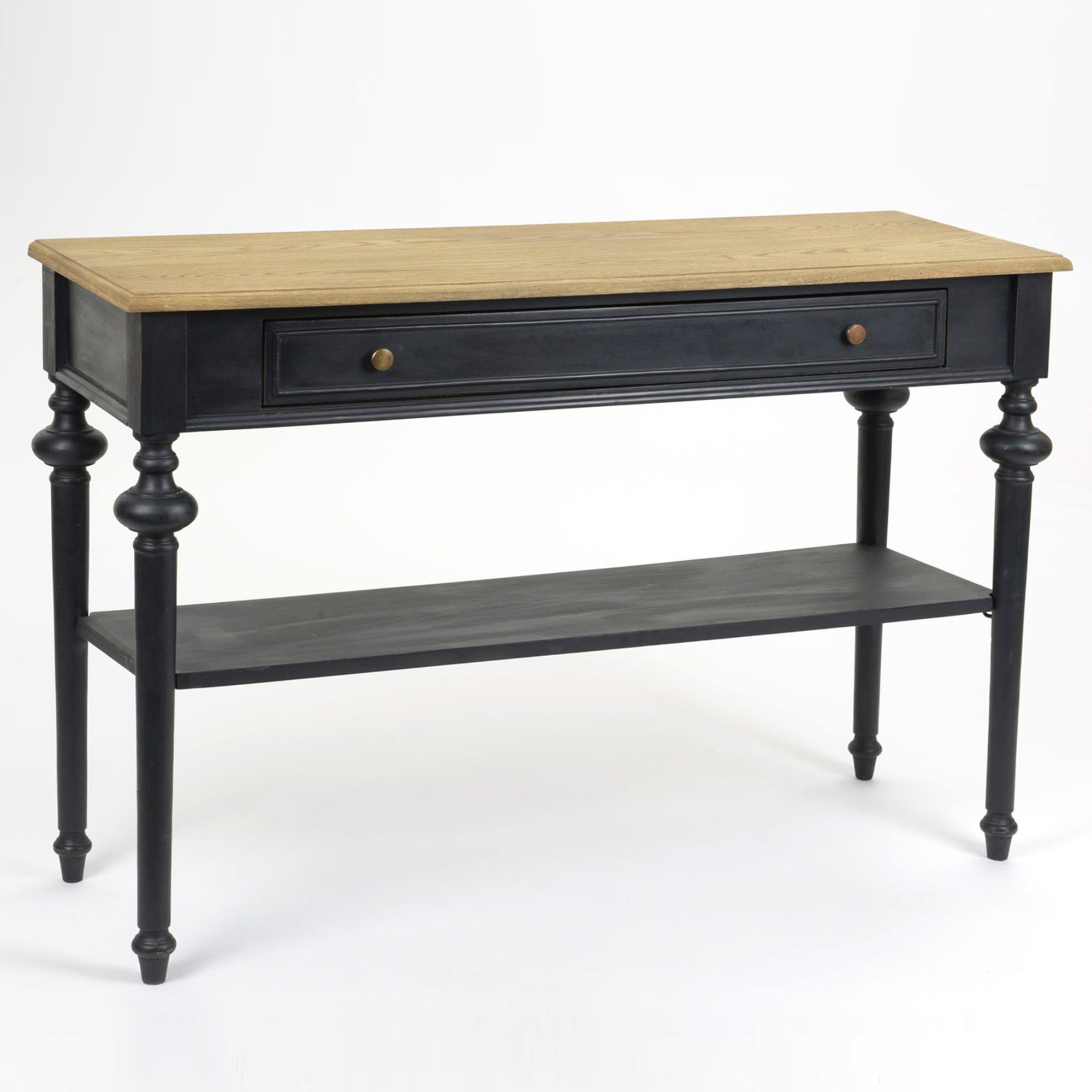 console 2 tiroirs 1 tag re bois bicolore noir et. Black Bedroom Furniture Sets. Home Design Ideas
