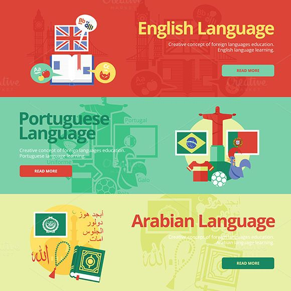 Flat Languages Lessons Banners by painterr on Creative Market