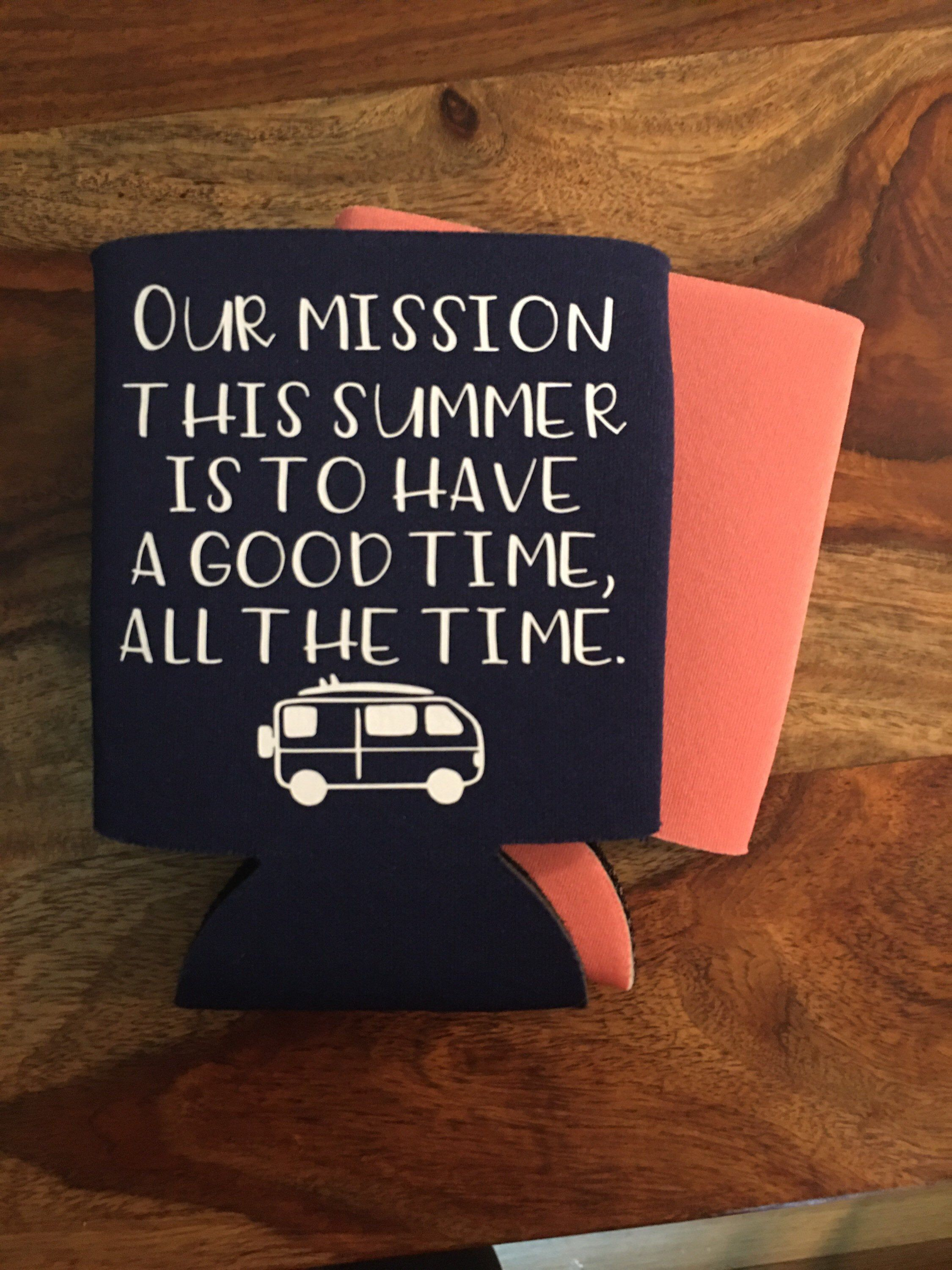 Our Mission This Summer Can Cooler Obx Can Cooler Outer Etsy Obx Outer Banks Bank Gifts