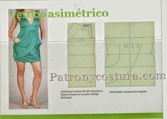 Vestido asimétrico color verde