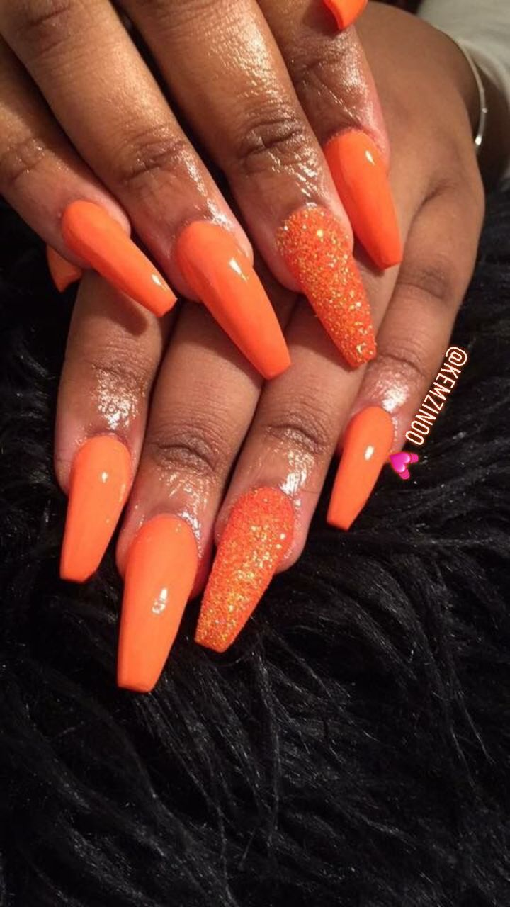 Pin by BO$$Y on NAIL$ | Orange nails, Gold acrylic nails ...