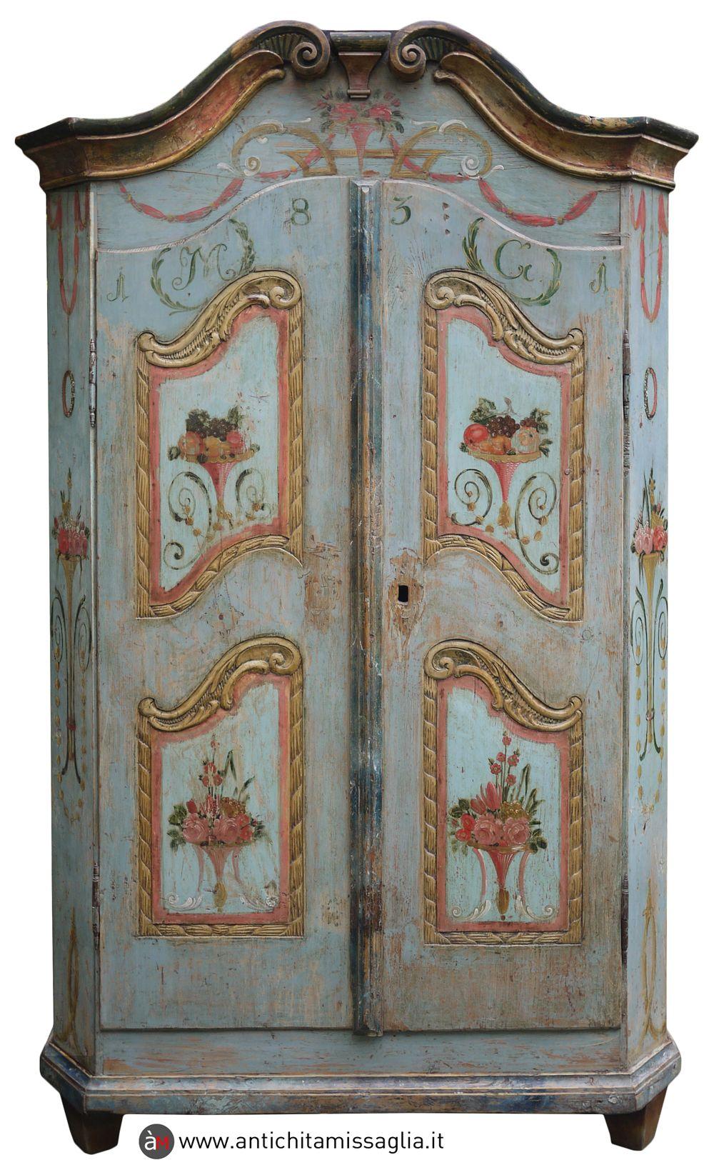 Armadio Tirolese Antico Datato 1831 Mobili Antichi Armadio