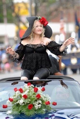 My cousin, Tom Fischer, interviewing Cyndi Lauper, Grand Marshal of the Pegasus Parade during Kentucky Derby 138, 2012