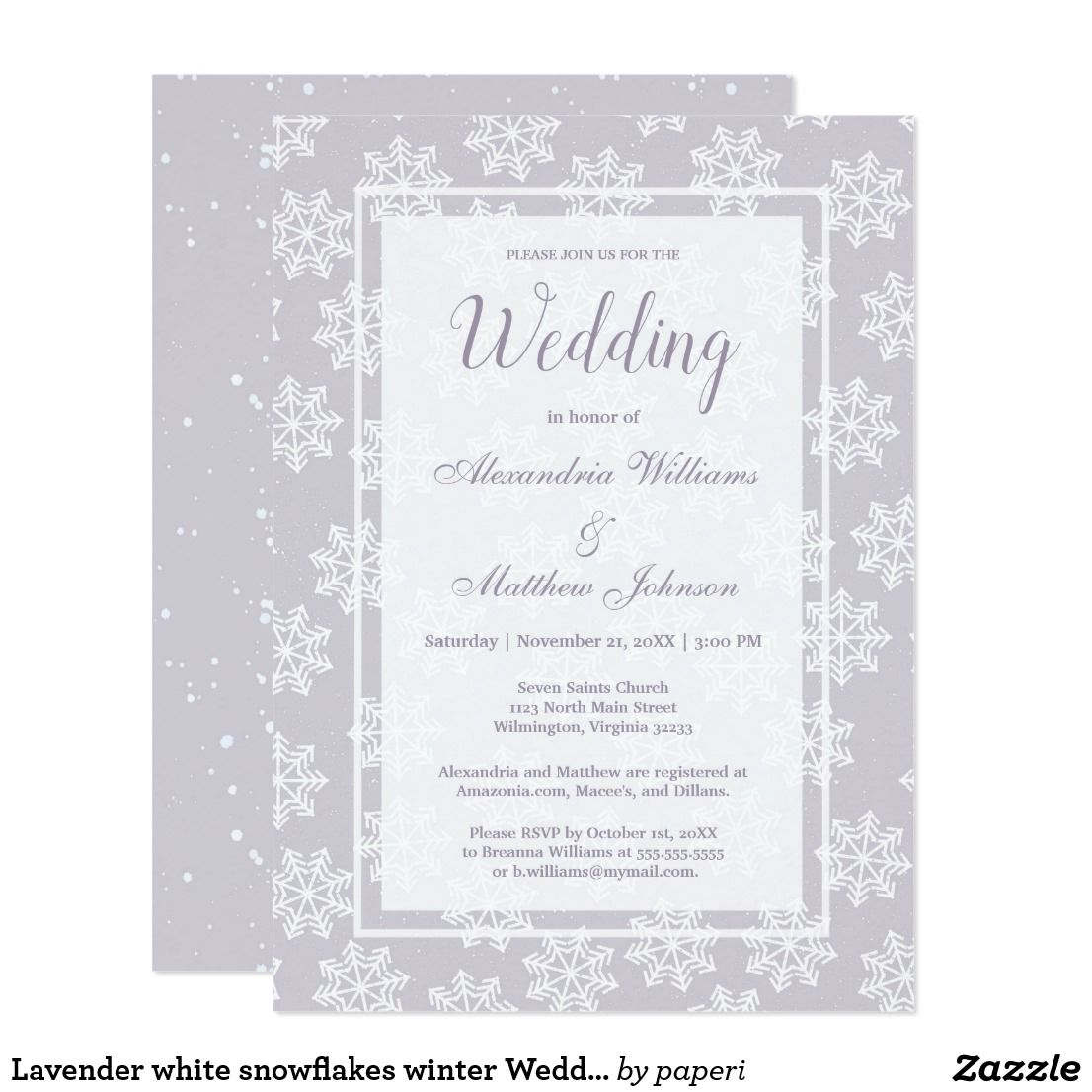 Lavender White Snowflakes Winter Wedding Invitation A Modern Geometrical And Invitations Is Perfect For Any Cly