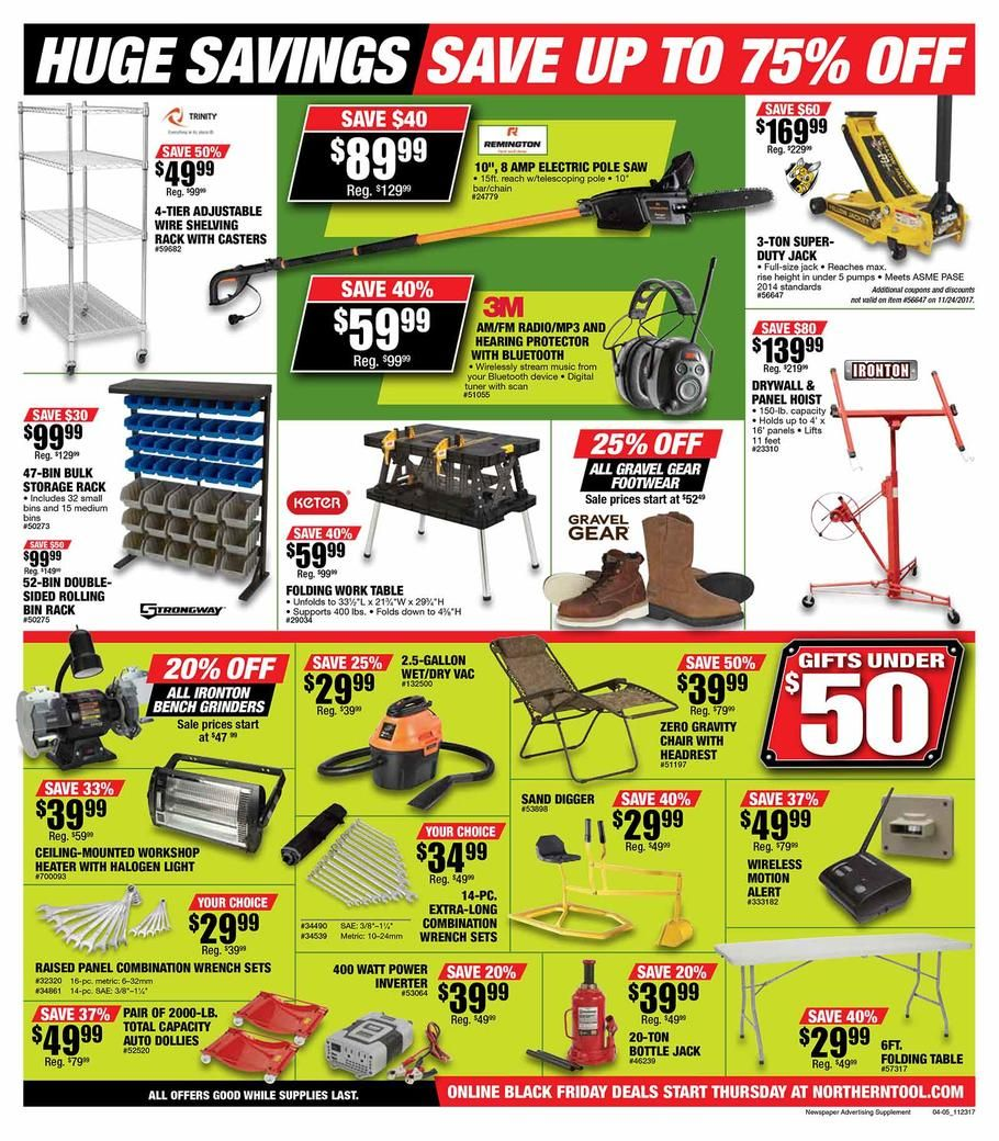 Northern Tool Black Friday 2017 Ads And Deals Shop At The One Of The Leading Retailers In The Tool And Equipment Industry When You Choose Black Friday Sale Ads