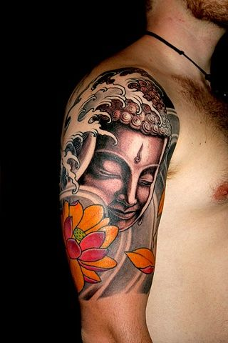 Half Sleeve Buddha Head And Lotus Flower Tattoo Designs Sleeve Tattoos Buddha Tattoo Design Lotus Flower Tattoo Design
