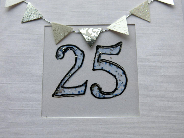 Silver Anniversary Greeting Card 25thanniversary Card 25th Birthday