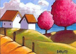 ACEO-Pink-Trees-Ocean-ORIGINAL-Collectable-Miniature-ART-CARD-PAINTING-Horvath
