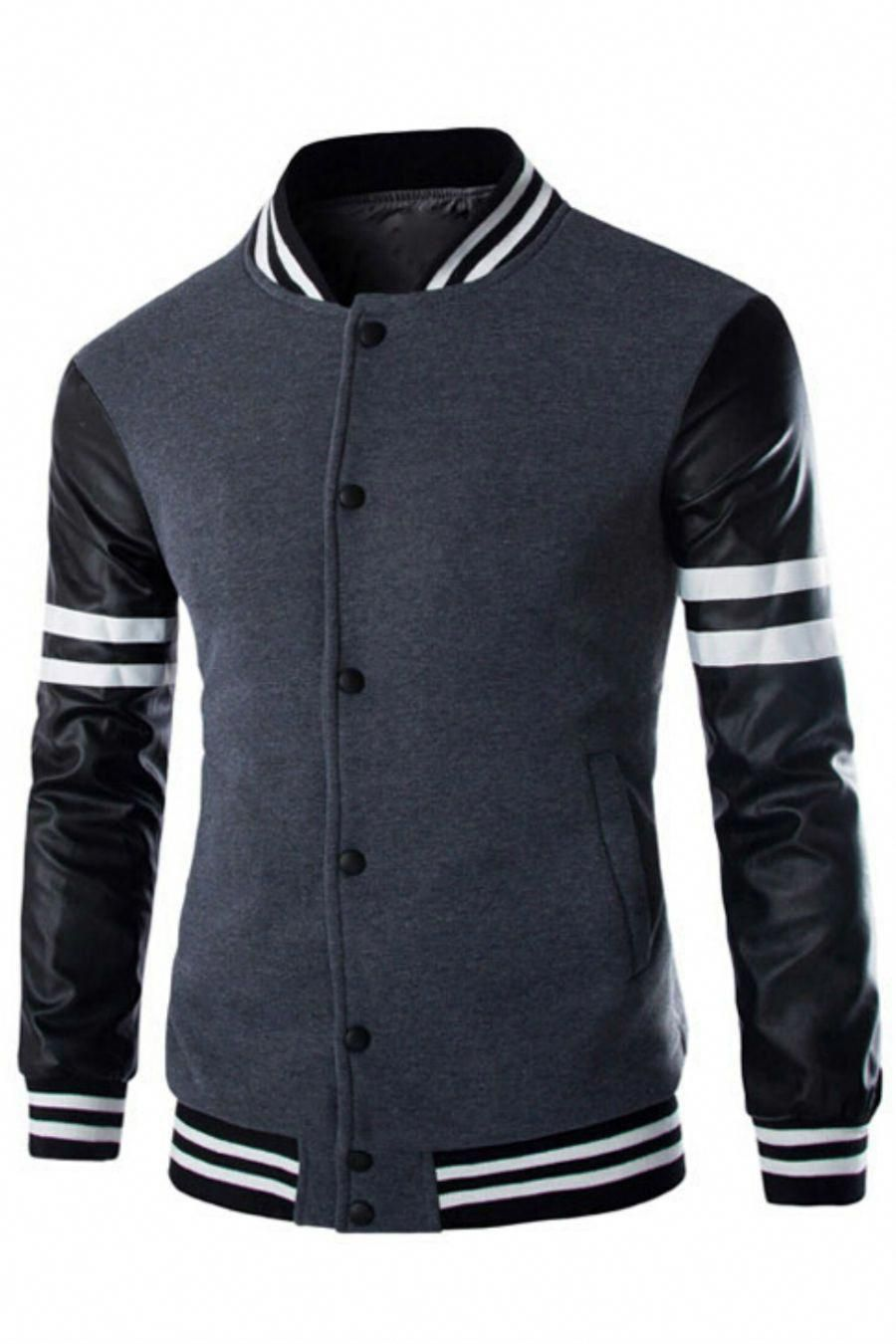 Gray Leather Long Sleeve Splicing Bomber Jacket Leatherjacketsformengrey Big Men Fashion Mens Fashion Edgy Mens Fashion Casual [ 1350 x 900 Pixel ]