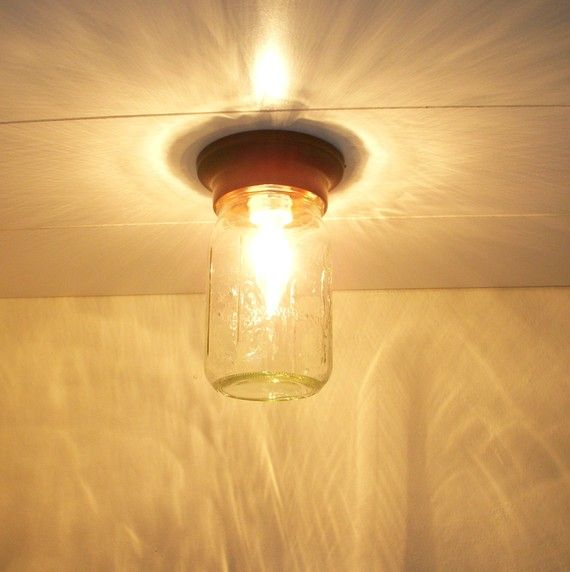 Sparkling summer nights clear glass mason jar flush ceiling mount sparkling summer nights clear glass mason jar flush ceiling mount lighting fixture upcycled recycled repurposed aloadofball Image collections