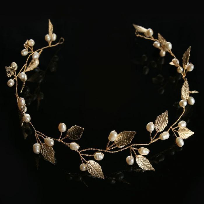 Роскошные Брендовые украшения для волос для невесты со стразами и жемчугом  нежный металлический лист свадебные диадемы корейский головной убор повязка  ... 4783ec30b5c