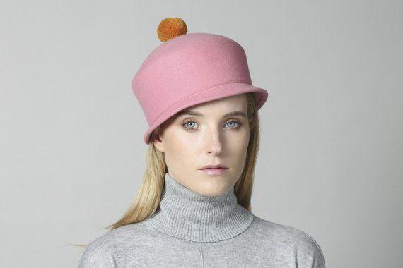 Leopard print 100/% wool felt cloche hand made hat Very unique.