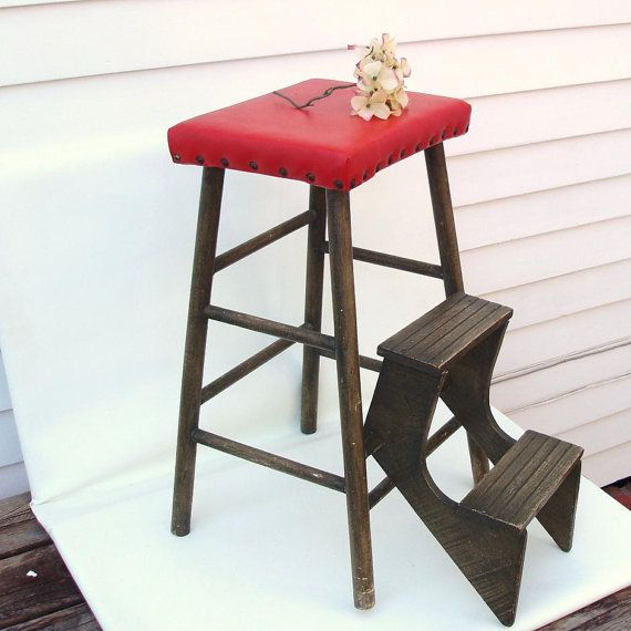Delightful 1940s Wood Fold Out Step Ladder Kitchen Stool Wooden Step Stool Red Vinyl  Seat Counter Stool