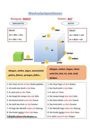 Wechselpräpositionen - DaF Arbeitsblätter | Schule | Pinterest ...