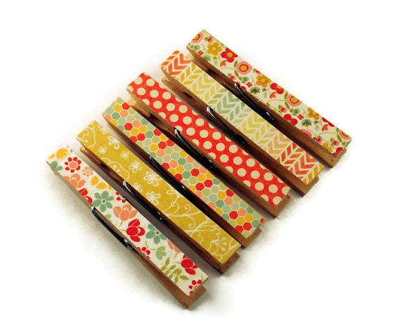 Altered Clothespin  Clips  Decorative  by funkychickendesign, $5.00