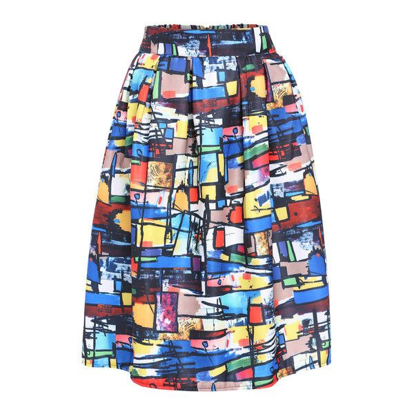 SheIn(sheinside) Multicolor Graffiti Print Midi Skirt (€14) ❤ liked on Polyvore featuring skirts, multi, knee length summer skirts, knee length skirts, print skirt, mid-calf skirt and summer midi skirts