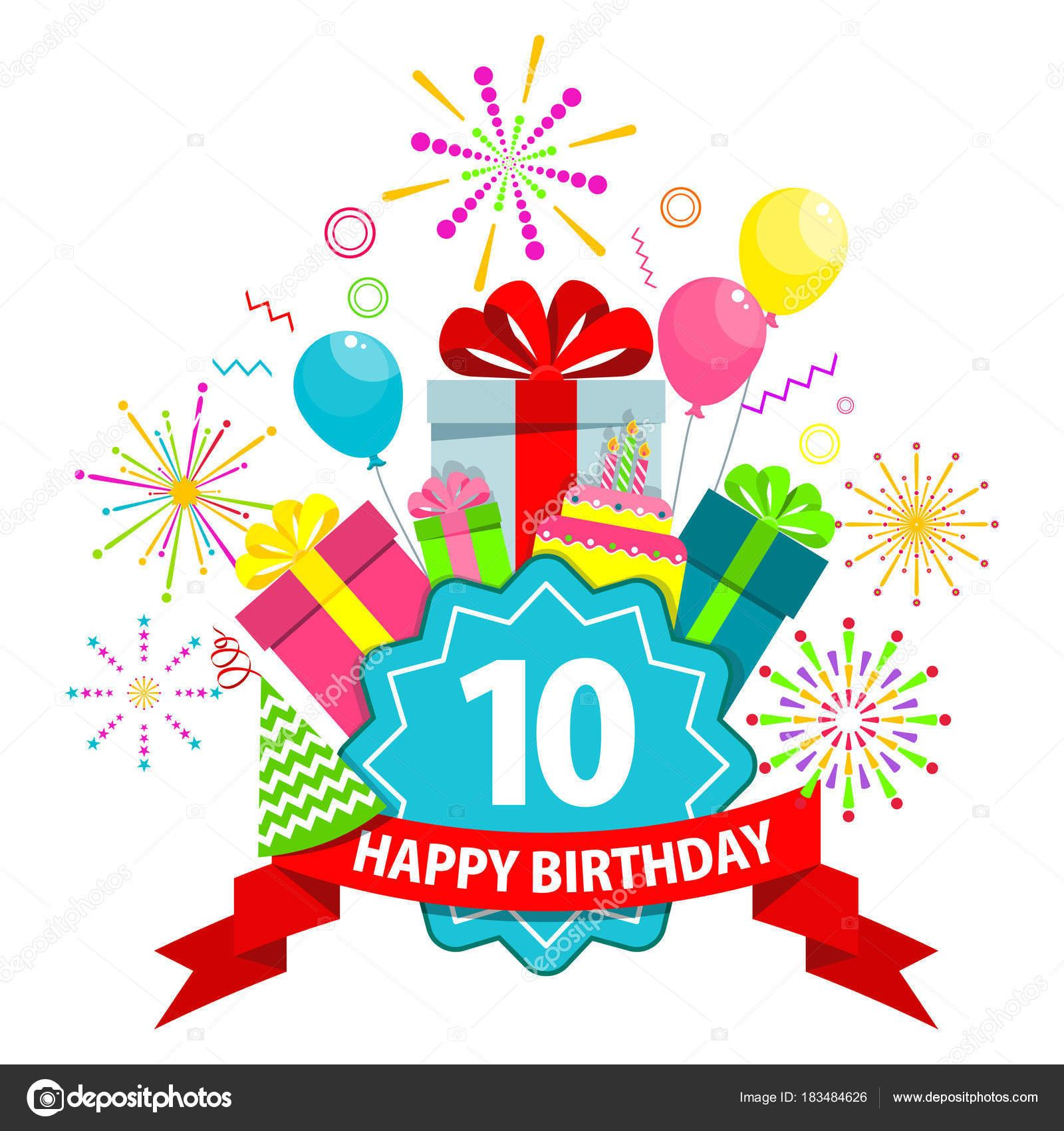 Stock Illustration Happy Birthday Card Ten Years Les 20 Meilleures Idees Cart Carte Anniversaire 10 Ans Carte Joyeux Anniversaire Carte Invitation Anniversaire