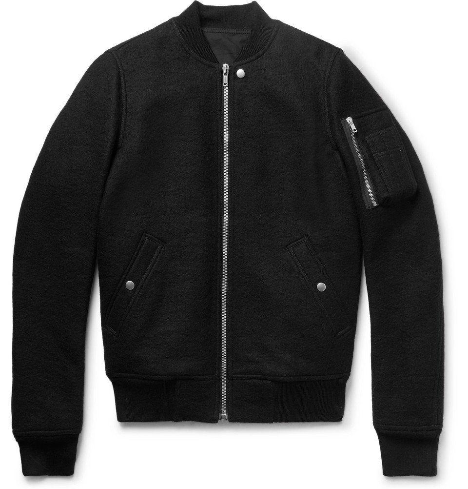 Rick Owens Boiled Virgin Wool Bomber Jacket Men Black Rick Owens Wool Bomber Jacket Bomber Jacket Men Jackets [ 1002 x 960 Pixel ]