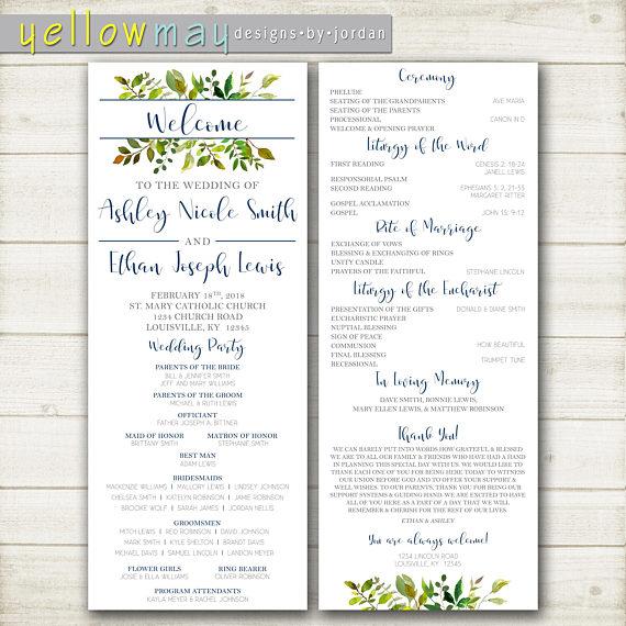 greenery wedding program ceremony program catholic wedding program