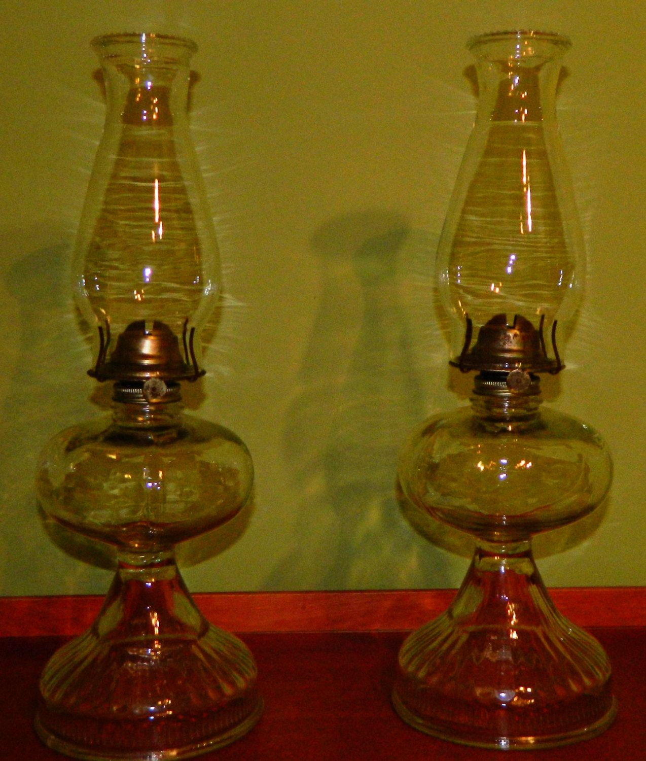 Pair Of Vintage Heavy Clear Ribbed Glass Hurricane Oil Lamp W Eagle Chimneys 49 99 Via Etsy Hurricane Oil Lamps Oil Lamps Lamp