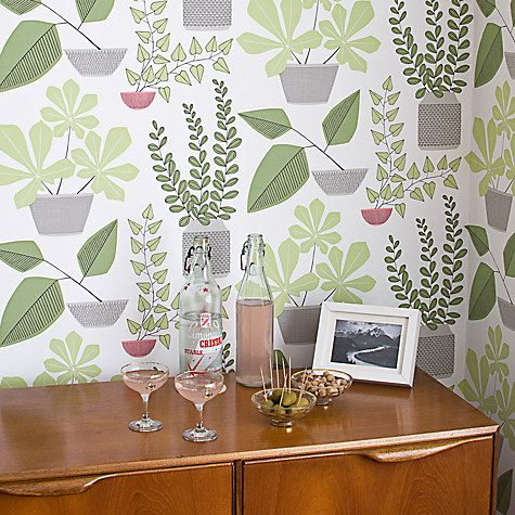 MissPrint House Plants Wallpaper, Olive MISP1176