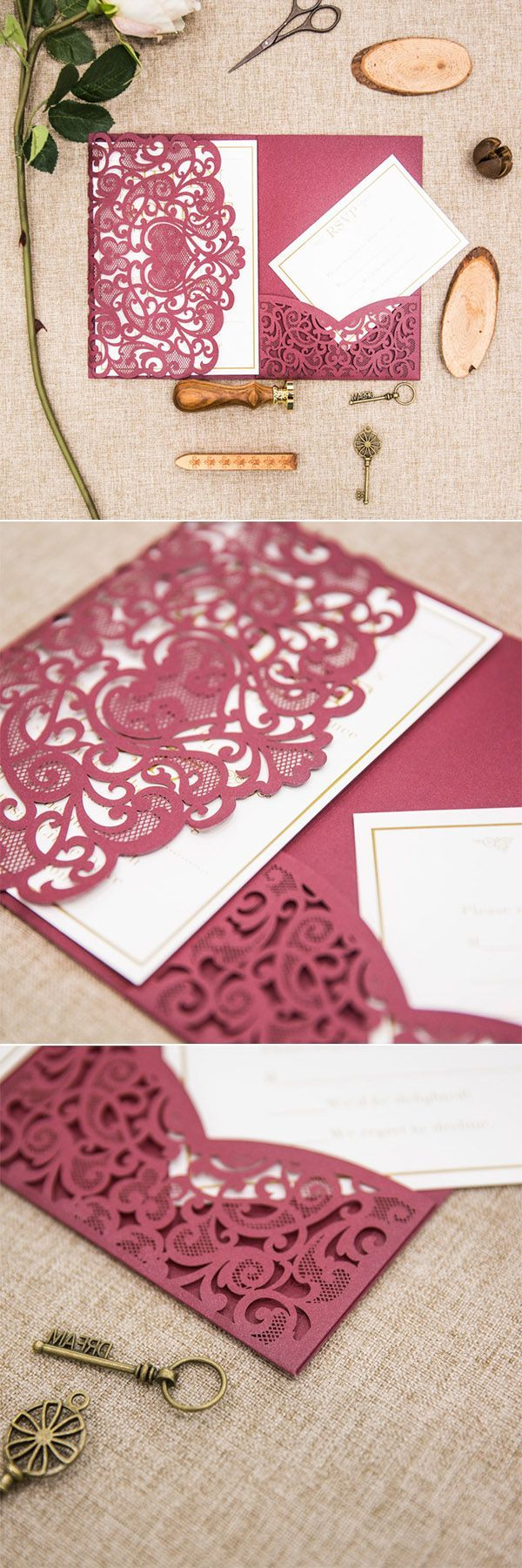 Elegant Fall Burgundy And Gold Heart Laser Cut Pocket Wedding