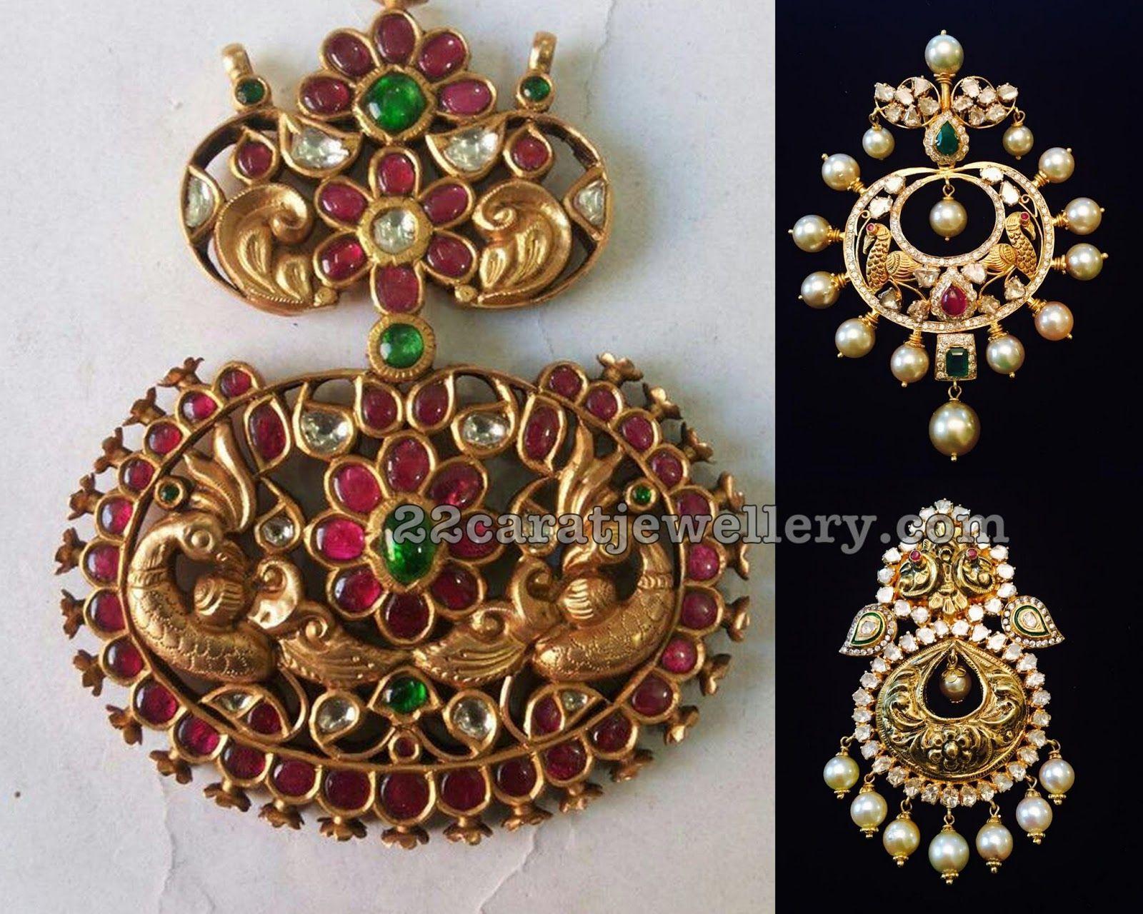 Nakshi pendant sets with kundan and moissanite traditional