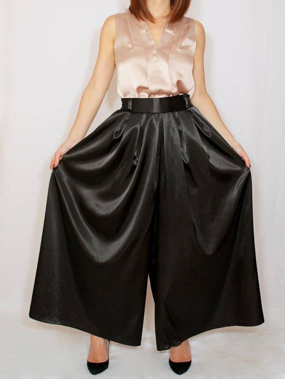 e64251ee8c6 Black satin pants Palazzo pants Black pant skirt Prom pants Plus size  clothing Custom made