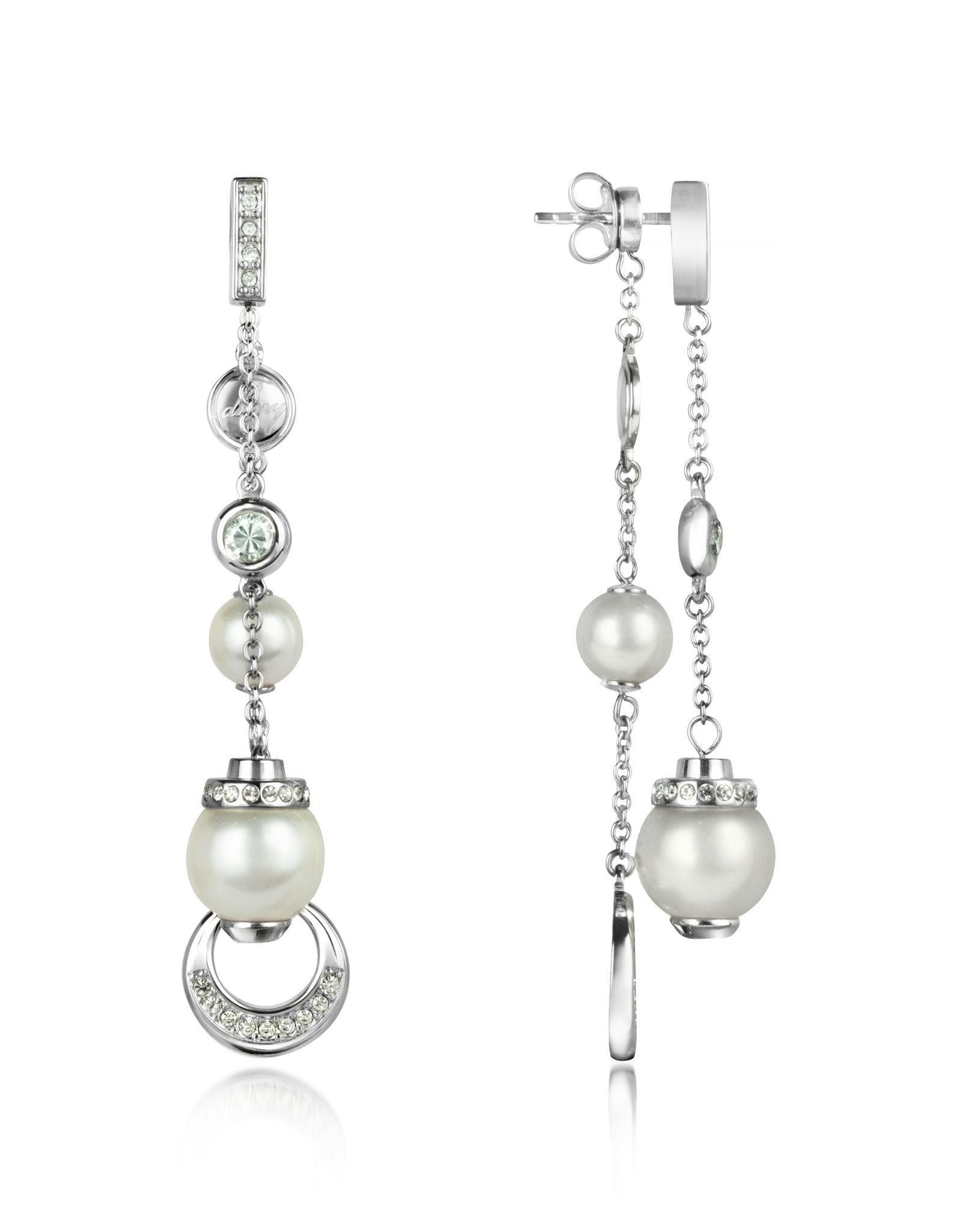 DKNY Crystal and Glass Pearl Drop Earrings at FORZIERI