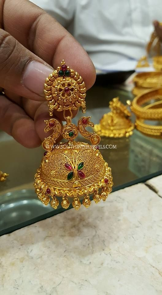 Gold Pea Jhumka Designs From S K Jewels Models With Peas