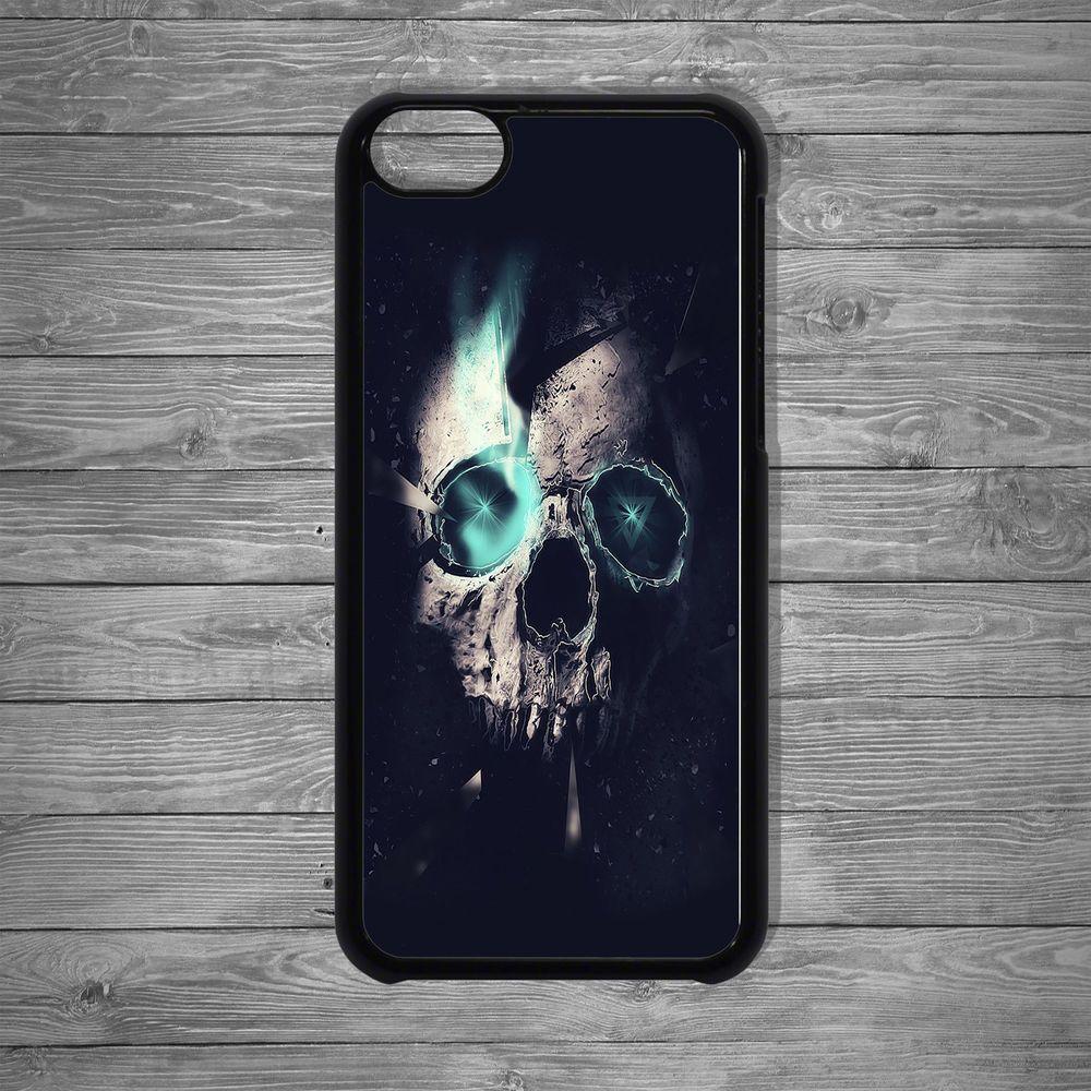 Cosmic cracked broken skull green light Apple case cover