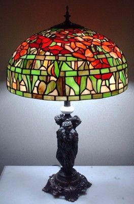 a8e19300bb1 Large Vintage Meyda Tiffany Floral Stained Glass Lamp Shade 3 Lady Figural  Base
