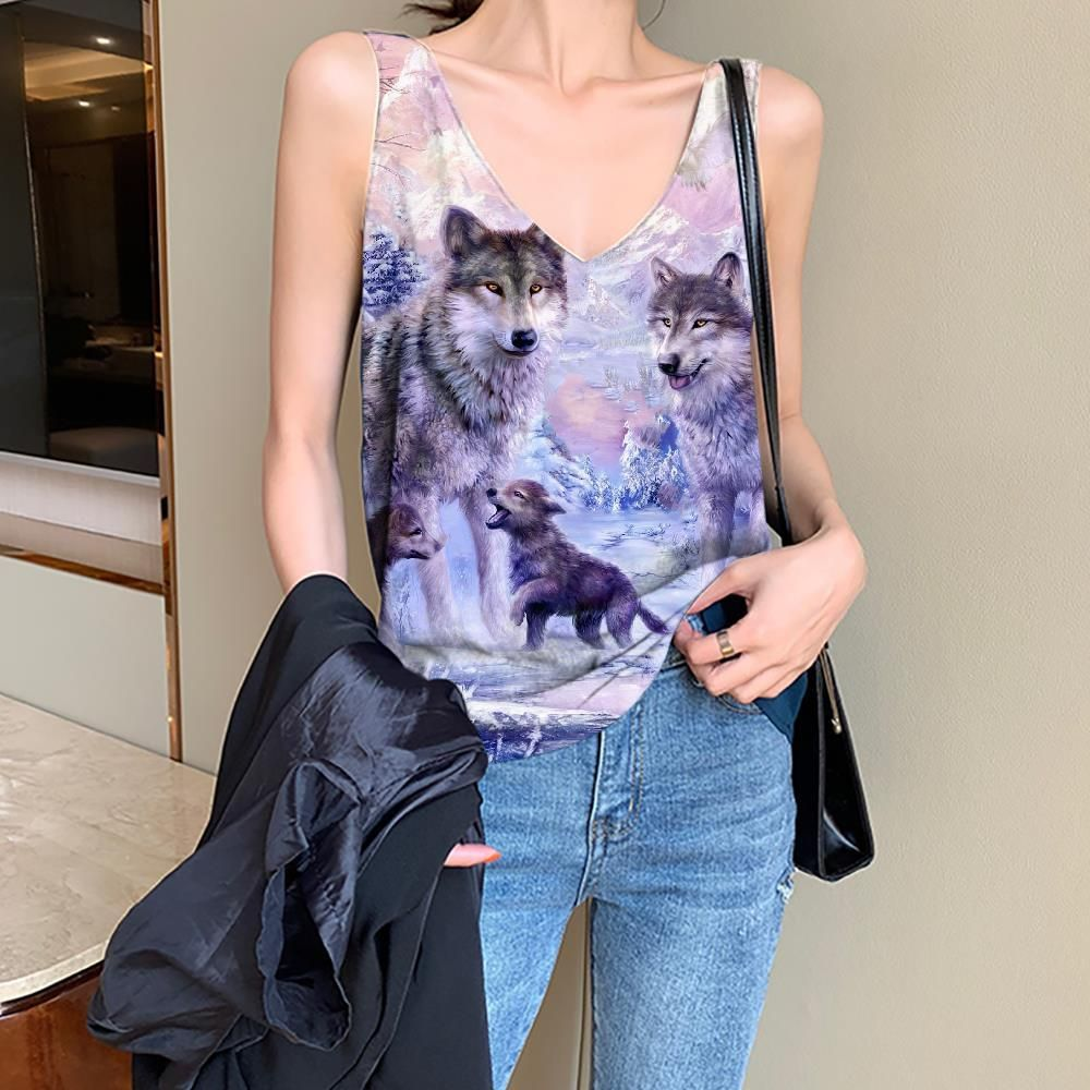 Photo of Wolf Tank-Top women Animal Anime Clothes Anime Vest Print Love Vest Printed Family Funny Top – 3XL