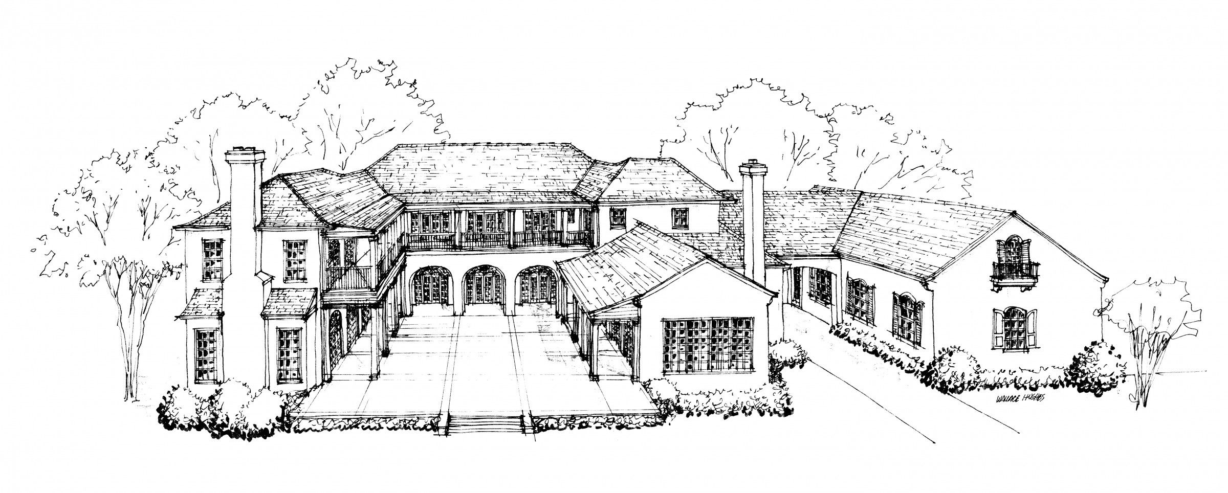 Rear exterior architectural sketch for an Italian Mediterranean Villa in Dallas, TX