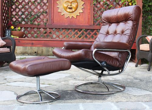 Vintage Ekornes Leather Lounge Chair + Ottoman  $400